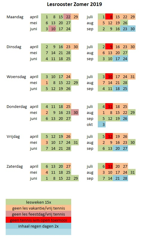 lesrooster zomer 2019
